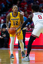 NORMAL, IL - December 07: DJ Horne holds Justin Thomas outside the perimeter during a college basketball game between the ISU Redbirds and the Morehead State Eagles on December 07 2019 at Redbird Arena in Normal, IL. (Photo by Alan Look)