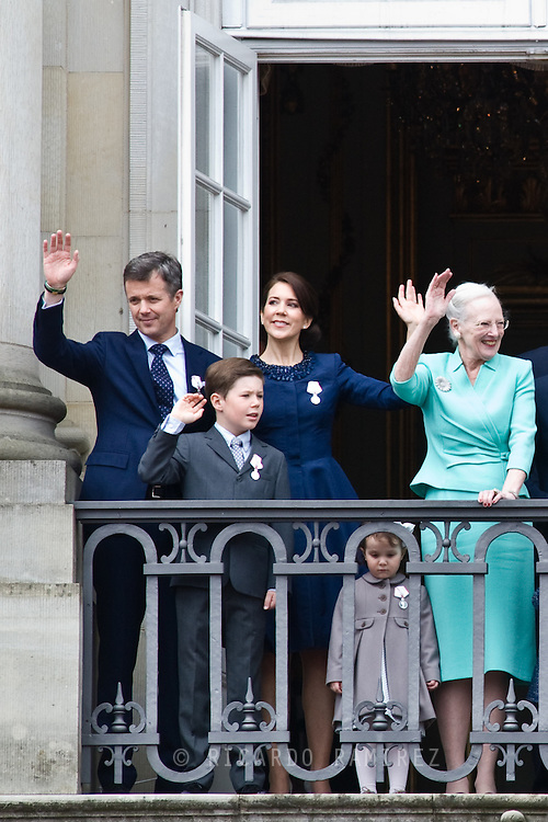 16.04.2015. Copenhagen, Denmark.<br /> Queen Margrethe II celebrates her 75th birthday with her whole family, From left to right Frederik, Crown Prince of Denmark, Mary, Crown Princess of Denmark, Prince Christian of Denmark, Princess Josephine of Denmark wave on the balcony of Amalienborg Palace.<br /> Photo:© Ricardo Ramirez