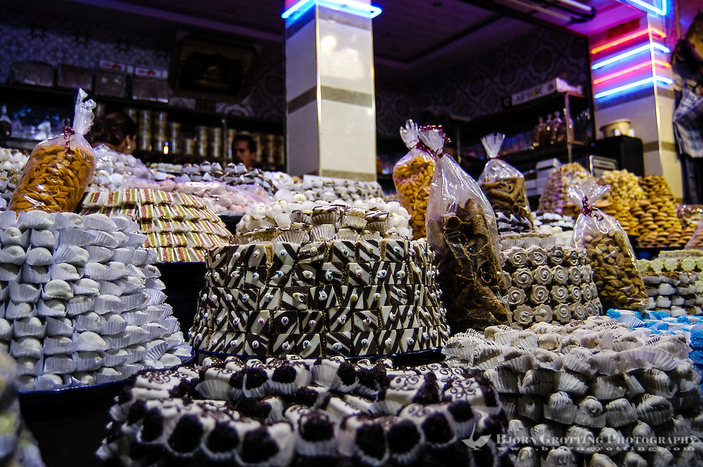 Morocco. Food bazaar in Meknes close to Place el Hedim and Bab el Mansour. Sweets.