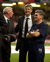 Photo. Richard Lane<br />Arsenal v Southampton. FA Cup Final. 17/05/2003.<br />Arsene Wenger has a smile on his face as he revels in the victory with Bob Wilson (l) and Pat Rice (r)