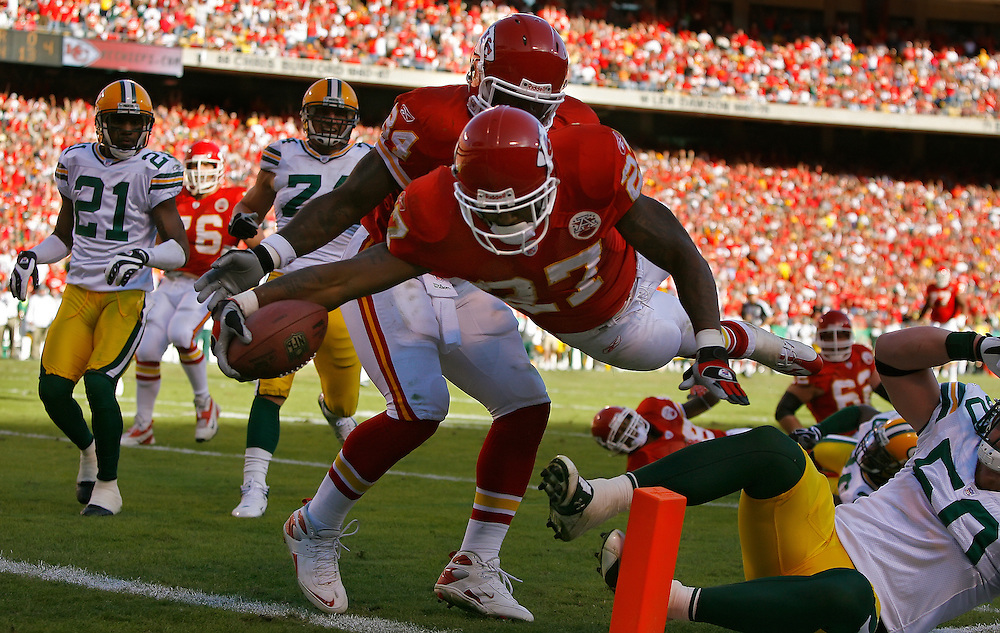 Kansas City Chiefs running back Larry Johnson dove in the corner of the end zone for a 30-yard touchdown reception in the fourth quarter against the Green Bay Packers on November 4, 2007 at Arrowhead Stadium. The Packers won 33-22.