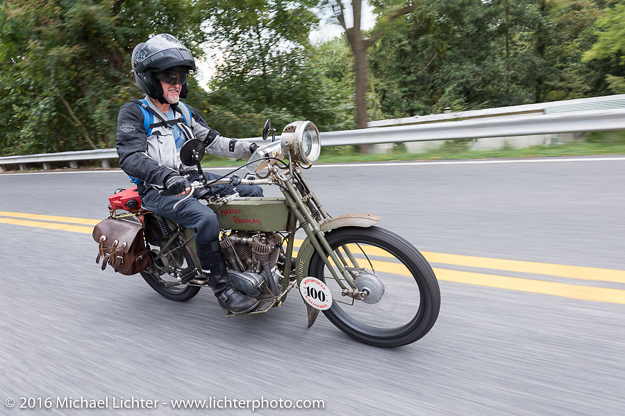 The Doobie Brothers' Pat Simmons of Hawaii rides his 1914 Harley-Davidson during the Motorcycle Cannonball Race of the Century. Stage-1 from Atlantic City, NJ to York, PA. USA. Saturday September 10, 2016. Photography ©2016 Michael Lichter.