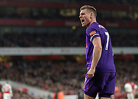 Football - 2018 / 2019 Premier League - Arsenal vs. Liverpool<br /> <br /> James Milner (Liverpool FC) screams towards the away supporters after he scored his teams goal at The Emirates.<br /> <br /> COLORSPORT/DANIEL BEARHAM