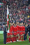 15.02.2015. Edinburgh. RBS 6 Nations 2015 Scotland v Wales. he Welsh squad during their national anthem. from Murrayfield Stadium, Edinburgh.