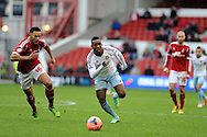 Modibo Maiga of West Ham in action. FA Cup with Budweiser, 3rd round, Nottingham Forest v West Ham Utd match at the City Ground in Nottingham, England on Sunday 5th Jan 2014.<br /> pic by Andrew Orchard, Andrew Orchard sports photography.