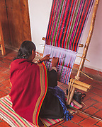 Backstrap loom weaving of traditional cloth in the colonial Bolivian city of Sucre, near two of the country's best-known communities of Quechua weavers: Tarabuco and Jalq'a
