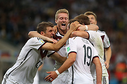 13.07.2014, Maracana, Rio de Janeiro, BRA, FIFA WM, Deutschland vs Argentinien, Finale, im Bild Torjubel bei Deutschland nach dem 1:0 durch Mario Goetze (GER)<br /> vl. Thomas Mueller (GER), Andre Schuerrle (GER) und Mario Goetze (GER) // during Final match between Germany and Argentina of the FIFA Worldcup Brazil 2014 at the Maracana in Rio de Janeiro, Brazil on 2014/07/13. EXPA Pictures © 2014, PhotoCredit: EXPA/ Eibner-Pressefoto/ Cezaro<br /> <br /> *****ATTENTION - OUT of GER*****