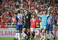LISBOA 17 OCTOBER  2004: PEPE #7 receives the red card after an aggression to NUNO GOMES #21, in the, 6¼ leg of the Super Liga, season 2004/2005, match SL Benfica v  FC Porto, held in Luz stadium, 17/10/2004  19:45<br />(PHOTO BY: NUNO ALEGRIA / AFCD)