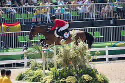 Barrios Pablo, VEN, Antares<br /> owner of the horse of Jerome with arms in the air<br /> Olympic Games Rio 2016<br /> © Hippo Foto - Dirk Caremans<br /> 14/08/16