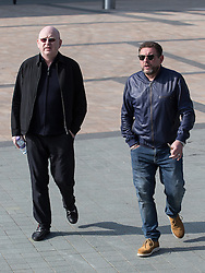 © Licensed to London News Pictures . 19/03/2015 . Salford Quays , UK . Alan McGee and Shaun Ryder . Black Grape photocall at The Green , Salford Quays , Greater Manchester . Black Grape are reforming for a Madchester charity gig along with other local bands , to raise awareness for Bez's Reality Party and anti-fracking . Photo credit : Joel Goodman/LNP