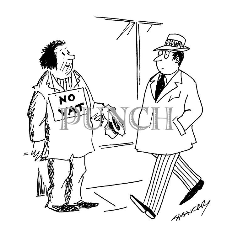 (Beggar with No VAT sign)