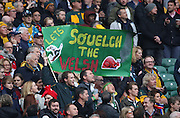 Funny sign prior to kick off during the Rugby World Cup Quarter Final match between South Africa and Wales at Twickenham, Richmond, United Kingdom on 17 October 2015. Photo by Matthew Redman.