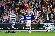 Queens Park Rangers midfielder Josh Scowen (11) reacts to the decision of a foul against him on Burton Albion midfielder Luke Murphy (7) during the EFL Sky Bet Championship match between Queens Park Rangers and Burton Albion at the Loftus Road Stadium, London, England on 23 September 2017. Photo by Richard Holmes.