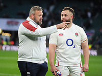 Football - 2020 Guinness Six Nations Championship - England vs. Ireland<br /> <br /> England forwards coach, Matt Proudfoot talks to England new boy Will Stuart, after the match at Twickenham.<br /> <br /> COLORSPORT/ANDREW COWIE