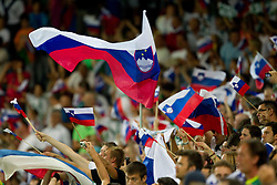 Fans at opening ceremony and opening friendly football match of a new stadium in Stozice between National teams of Slovenia and Australia on August 11, 2010 in Ljubljana. Slovenia defeated Australia 2-0. (Photo by Vid Ponikvar / Sportida)