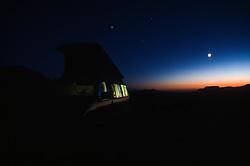 Eurovan at Dusk at Windy Ridge, Mt. St. Helens National Volcanic Monument, Washington, US