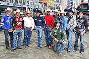 15 October 2010-New York, NY- l to r: Ryan McConnel, Mckennon Wimberly, Robson Palmeromo, Travis Briscoe, Valdiron de Oliveira, Silvano Alves, J.B Mauney, Austin Meier, Shane Proctor, and Mike Lee(kneeling) at the The Professional Bull Riders' (PBR) Compettion in the Built Ford Tough Road to Las Vegas Series presented by Cooper Tires and held in New York's Times Square on October 15, 2010 in New York City. ..The Times Square competition is a special prelude event to the 2010 PBR World Finals. The 2010 PBR Ford Tough World Finals will take place October 20-24 in Las Vegas, where the coveted PBR Championship Buckle and a $1 Million bonus are up for grabs. Photo Credit: Terrence Jennings