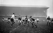 Irish Rugby Football Union, Ireland v France, Five Nations, Landsdowne Road, Dublin, Ireland, Saturday 26th January, 1963,.26.1.1963, 1.26.1963,..Referee- F G Price, Welsh Rugby Union, ..Score- Ireland 5 - 24 France, ..Irish Team, ..T J Kiernan,  Wearing number 15 Irish jersey, Captain of the Irish team, Full Back, University college Cork Football Club, Cork, Ireland,  ..W R Hunter, Wearing number 14 Irish jersey, Right Wing, C I Y M S Rugby Football Club, Belfast, Northern Ireland, ..A C Pedlow, Wearing number 13 Irish jersey, Right Centre,  C I Y M S Rugby Football Club, Belfast, Northern Ireland, ..A J O'Reilly, Wearing number 12 Irish jersey, Left Centre, Old Belvedere Rugby Football Club, Dublin, Ireland,  ..P J Casey, Wearing number 11 Irish jersey, Left Wing, University College Dublin Rugby Football Club, Dublin, Ireland, ..J B Murray, Wearing number 10 Irish jersey, Stand Off, University College Dublin Rugby Football Club, Dublin, Ireland, ..J C Kelly, Wearing number 9 Irish jersey, Scrum Half, University College Dublin Rugby Football Club, Dublin, Ireland,..P J Dwyer, Wearing number 1 Irish jersey, Forward, University College Dublin Rugby Football Club, Dublin, Ireland, ..A R Dawson, Wearing number 2 Irish jersey, Forward, Wanderers Rugby Football Club, Dublin, Ireland, ..S Millar, Wearing number 3 Irish jersey, Forward, Ballymena Rugby Football Club, Antrim, Northern Ireland,..W A Mulcahy, Wearing number 4 Irish jersey, Forward, Bective Rangers Rugby Football Club, Dublin, Ireland,  ..W J McBride, Wearing number 5 Irish jersey, Forward, Ballymena Rugby Football Club, Antrim, Northern Ireland,..M D Kiely, Wearing number 6 Irish jersey, Forward, Landsdowne Rugby Football Club, Dublin, Ireland, ..C J Dick, Wearing number 8 Irish jersey, Forward, Ballymena Rugby Football Club, Antrim, Northern Ireland,..P J A O' Sullivan, Wearing  Number 7 Irish jersey, Forward, Galwegians Rugby Football Club, Galway, Ireland,..French Team, ..J P Razat, Wearing number 15 Frenc