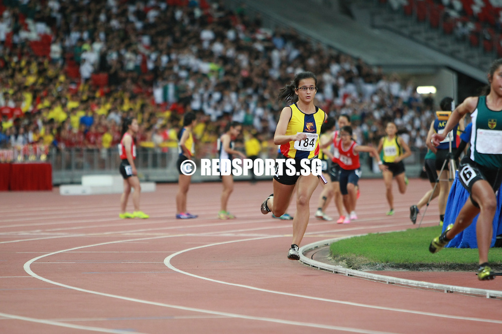 National Stadium, Friday, April 29, 2016 - Hwa Chong Institution (HCI) clinched the A Division Girls 4x400m relay gold at the 57th National Schools Track and Field Championships. <br /> <br /> The HCI quartet of Claudia Sng, Britney Chia, Audrey Sarah Tan and Pan Xin-Min finished with a timing of 4 minutes 14.82 seconds.