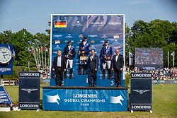 FREDRICSON Peder (SWE), DEUSSER Daniel (GER), NASSAR Nayel (EGY), DANAESE Marco (Global Tour), ECKERT Rainer (Longines), WULFF Volker (Veranstalter)<br /> Hamburg - 90. Deutsches Spring- und Dressur Derby 2019<br /> LONGINES GLOBAL CHAMPIONS TOUR Grand Prix of Hamburg<br /> CSI5* Springprüfung mit Stechen <br /> Wertungsprüfung für die LGCT, 6. Etappe<br /> 01. Juni 2019<br /> © www.sportfotos-lafrentz.de/Stefan Lafrentz