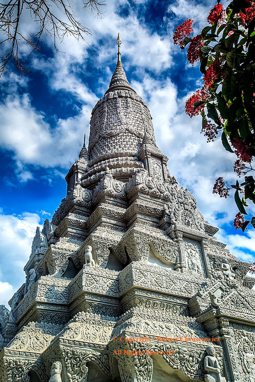 Cambodian Stupa:  The ashes of the King Norodom (1834-1904) reside within the Stupa of HM King Norodom, the Imperial Palace, Phnom Penh Cambodia.