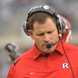 Oct 31, 2009; East Hartford, CT, USA; Rutgers head coach Greg Schiano reacts to Connecticut's go-ahead score with 38 seconds remaining in the second half of Rutgers' 28-24 victory over Connecticut in NCAA Big East football at Rentschler Field.