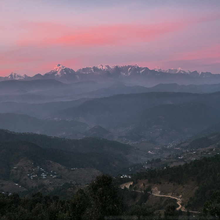 View over Nanda Devi, the highest mountain located entirely within India. In the Himalaya.
