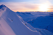 A skier descends the west face of Mount Dimond, outside Valdez, Alaska