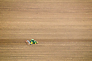 Israel, Beit She'an Valley, Ploughed agriculture field elevated view