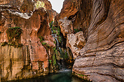 Walk to the waterfall at Elves Chasm at Colorado River Mile 117.2 (measured downstream from Lees Ferry). Day 8 of 16 days rafting 226 miles down the Colorado River in Grand Canyon National Park, Arizona, USA. Multiple overlapping photos were stitched to make this panorama.