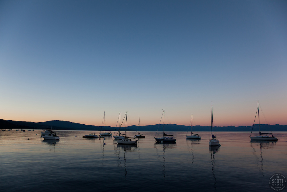 """""""Boats on Lake Tahoe 1"""" - These boats were photographed at sunset from the West shore of Lake Tahoe, California."""