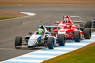 Louis Foster(GBR) Double R Racing leads the chasing pack  during the FIA Formula 4 British Championship at Knockhill Racing Circuit, Dunfermline, Scotland on 15 September 2019.