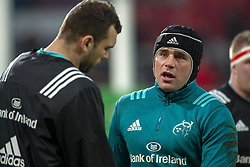 January 19, 2019 - Limerick, Ireland - CJ Stander of Munster talks to Tadhg Beirne of Munster during the Heineken Champions Cup match between Munster Rugby and Exeter Chiefs at Thomond Park in Limerick, Ireland on January 19, 2019  (Credit Image: © Andrew Surma/NurPhoto via ZUMA Press)
