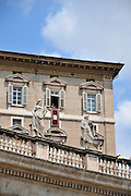 Vatican City, Rome, Italy St. Pietro (St Peter's) square His Holiness Pope Benedict XVI at his window during a sermon
