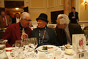 John Amis, Diana Athill and Charles Wheeler. Oldie magazine's Oldie of the Year Awards 2006. Simpson's. the Strand. London.21 March 2006.  ONE TIME USE ONLY - DO NOT ARCHIVE  © Copyright Photograph by Dafydd Jones 66 Stockwell Park Rd. London SW9 0DA Tel 020 7733 0108 www.dafjones.com