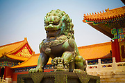 A Gilded lion Statue in the Forbidden City, Beijing, China