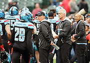 Daryl Johnston, director of player personnel for the Dallas Renegades, celebrates his birthday by encouraging players during pregame  during a XFL professional football game, Saturday, February 9, 2020, at Globe Life Park, Arlington Texas. he  Battlehawks defeated the Renegades 15-9. (Wayne Gooden/Image of Sport)