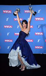 August 20, 2018 - New York, New York, U.S. - CAMILA CABELLO with awards  in the 2018 MTV Video Music Awards Press Room at Radio City Music Hall. (Credit Image: © Kristin Callahan/Ace Pictures via ZUMA Press)