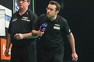 Darts referee Huw Ware during the Unibet Premier League Play-Offs at the Ricoh Arena, Coventry, England on 15 October 2020.