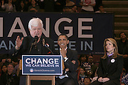 Senator Edward Kennedy and Senator Barack Obama and Caroline Kennedy at Presidental Candidate Barack Obama Rally at The Izod Center at the Meadowlands in New Jersey on February 4, 2008