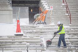 March 8, 2019 - –Stersund, Sweden - 190308 Preparations of the grandstand after heavy snowfall during the IBU World Championships Biathlon on March 8, 2019 in Östersund..Photo: Petter Arvidson / BILDBYRÃ…N / kod PA / 92246 (Credit Image: © Petter Arvidson/Bildbyran via ZUMA Press)