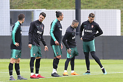 March 20, 2018 - Lisbon, Lisbon, Portugal - Portugal forward Cristiano Ronaldo (R) during training session at Cidade do Futebol training camp in Oeiras, outskirts of Lisbon, on March 20, 2018 ahead of the friendly football match in Zurich against Egypt on March 23. (Credit Image: © Dpi/NurPhoto via ZUMA Press)