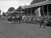 Aga Khan Trophy..1979..10.08.1979..08.10.1979..10th August 1979..The annual staging of the Aga Khan Cup took place  at the Royal Dublin Showgrounds, Ballsbridge,Dublin today.It was the first time since 1937 that Ireland won the trophy outright. The winning Irish team comprised of Paul Darragh,Capt Con Power,James Kernan and Eddie Macken..Image shows the French team parading in front of the main stand at the rds prior to the start of the Aga Khan Cup.