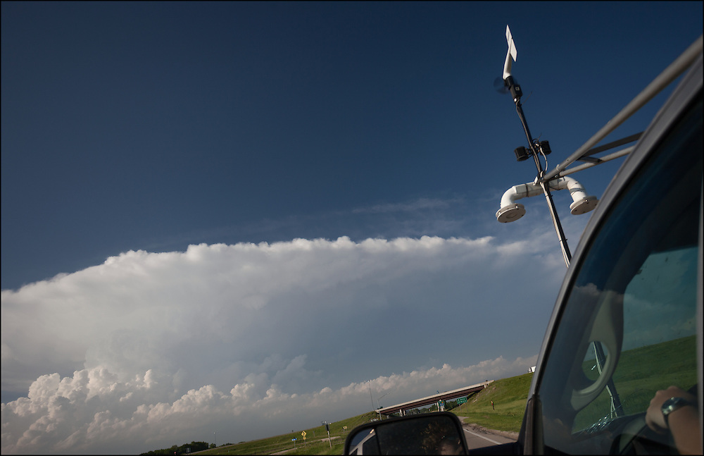 Scout 3 driving through Central Kansas in pursuit of an explosive severe thunderstorm that for formed north of Salina, Kansas.