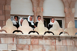 King Hussein's daughters seen during his funeral at the Royal palace in Amman, Jordan on February 8, 1999. Twenty years ago, end of January and early February 1999, the Kingdom of Jordan witnessed a change of power as the late King Hussein came back from the United States of America to change his Crown Prince, only two weeks before he passed away. Photo by Balkis Press/ABACAPRESS.COM