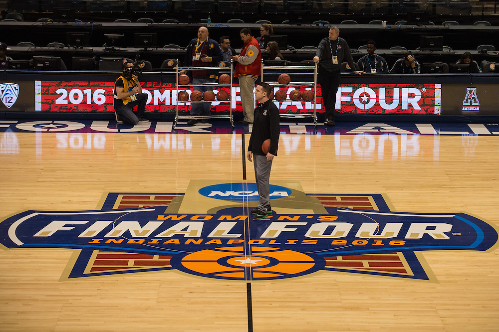 April 2, 2016; Indianapolis, Ind.; Head coach Ryan McCarthy watches his team during their practice session at Bankers Life Fieldhouse.