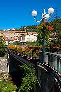 Pont Rudyard Kipling, Rudyard Kipling Bridge, Vernet les Bains, Pyrenees Orientales, France. Bridge named after the English writer, who visited Vernet many times.