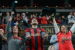 November 11, 2018 - Atlanta, GA, U.S. - ATLANTA, GA Ð NOVEMBER 11:  Atlanta United fans cheer after a goal is scored during the MLS Eastern Conference semifinal match between Atlanta United and NYCFC on November 11th, 2018 at Mercedes-Benz Stadium in Atlanta, GA.  Atlanta United FC defeated New York City FC by a score of 3 to 1 to advance in the playoffs.  (Photo by Rich von Biberstein/Icon Sportswire) (Credit Image: © Rich Von Biberstein/Icon SMI via ZUMA Press)