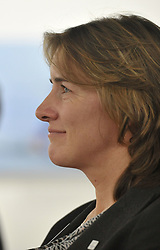 UK Sport chair Dame Katherine Grainger during the press conference to announce the UK Sport medal target for the Winter Olympics and Paralympics at the Korean Cultural Centre UK in London.