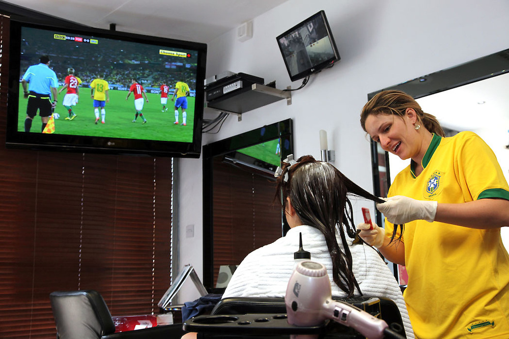 Brazil v Portugal, Willesden Green<br /> <br /> Copyright: Jonathan GoldbergWorld Cup 2010 watched  on London TV<br /> Brazil v Portugal at Brazilian Beauty, Willesden